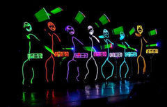 Light up drums and stick figure costumes