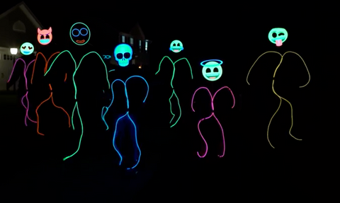 light up stick figure costumes using emoji masks by glowcity for halloween