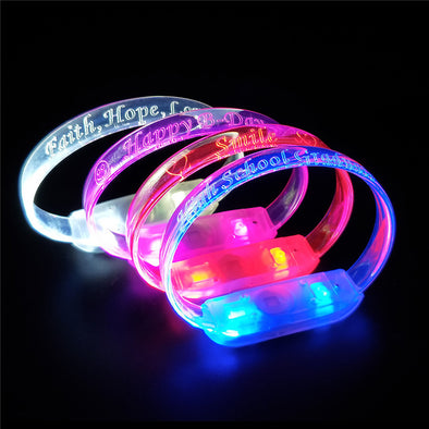 Customize your logo or event on light up LED Fiber Optic Bracelets