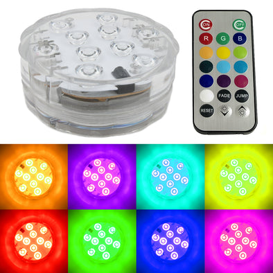 Remote controlled Multi Color RGB Pod Light that is waterproof and great for illuminating glass and light up centerpieces