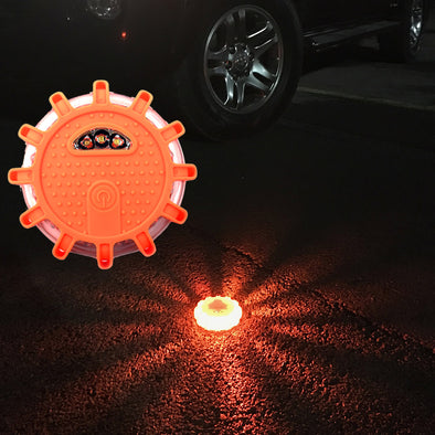 Light up emergency puck light for road safety
