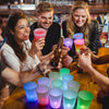 glow in the dark beer pong with LED Cups that are multi colored by glowcity