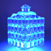 blue illuminated glass using GlowCity LED Pod light that can change colors