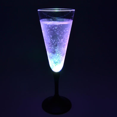 GlowCity Cool Light up Flashing LED Multi Colored Champagne Glasses - Set of 12