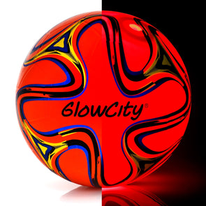 GlowCity Light Up LED Soccer Ball Swirl Edition uses Bright LED lights to glow in the dark