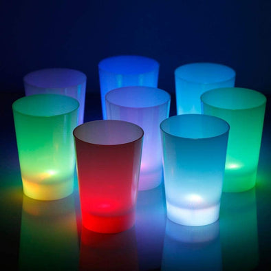 GlowCity Light Up Drinking Glasses-Party Cups-Not Glass Cups-Frosted LED Glasses Plastic- Set of 12 Drinking Cups- Each Cup has LED Lighting from The Bottom Up-Perfect for A Glow Party