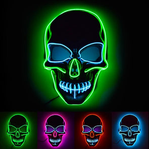 Light Up EL Wire Skull Mask
