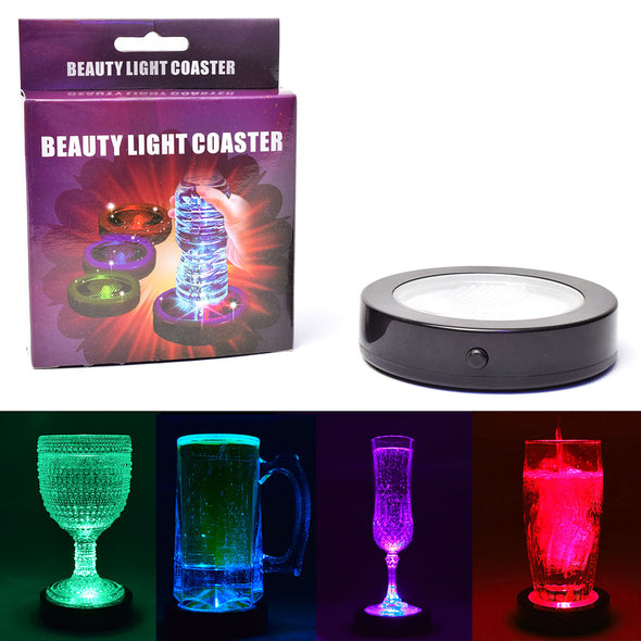 light up drink coaster illuminates any clear liquid and glass multiple colors by glowcity