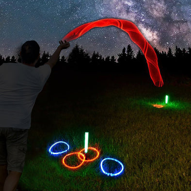 Light up ring toss game by GlowCity. Uses fiber optic throwing rings