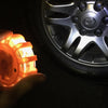 Built in flashlight LED puck light for changing tires and being visible on the side of the road