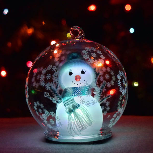 *New* GlowCity LED Color Changing Snowman Glass Globe Ordainment