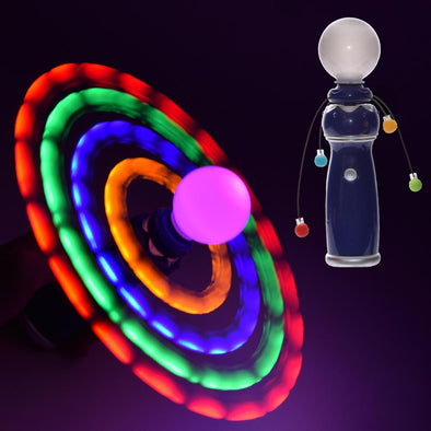 light up galaxy spinner uses LED lights on strings