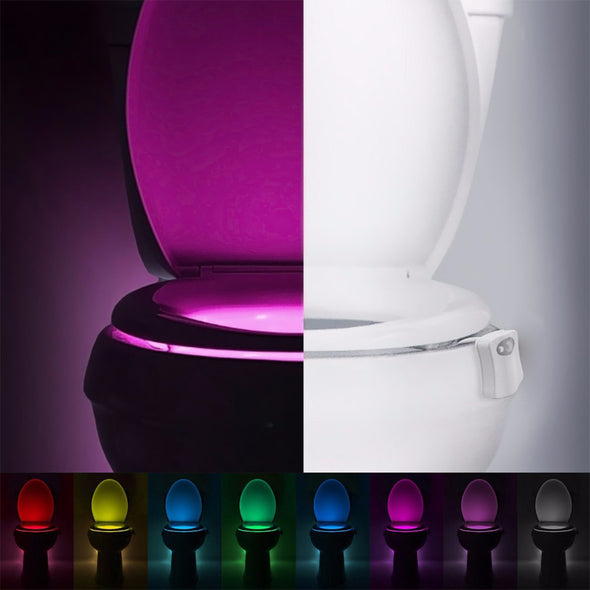 Light up toilet bowl lights using motion detection works as a night light