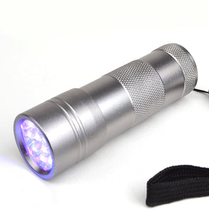 GlowCity Portable Handheld Super Bright UV Blacklight 12 LED FlashLight Silver