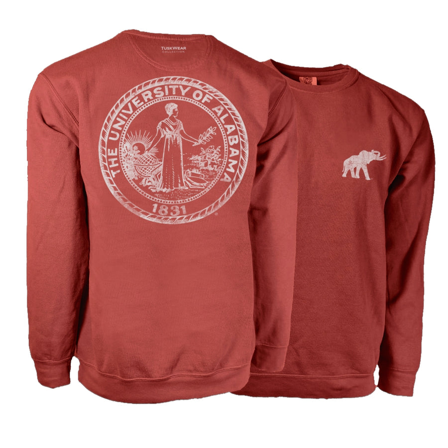 Single Color Distressed Crest Sweatshirt - Comfort Colors