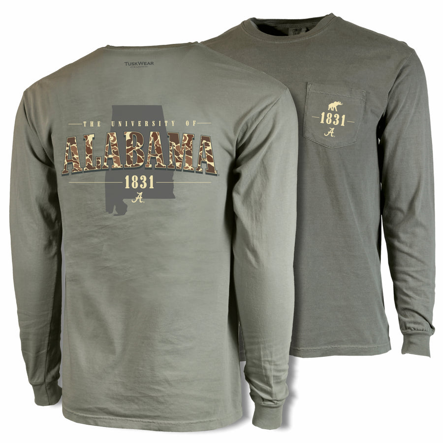 Old School Camo State Tee - Comfort Colors Long Sleeve