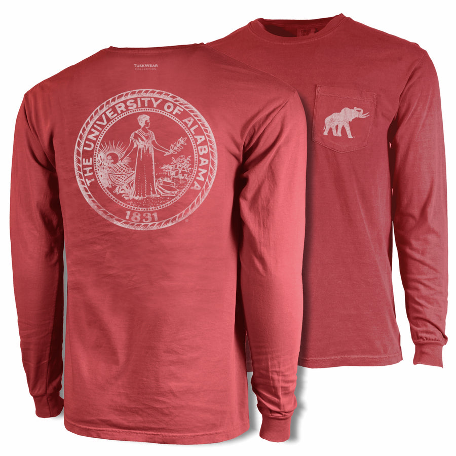 Single Color Distressed Crest - Comfort Colors Long Sleeve