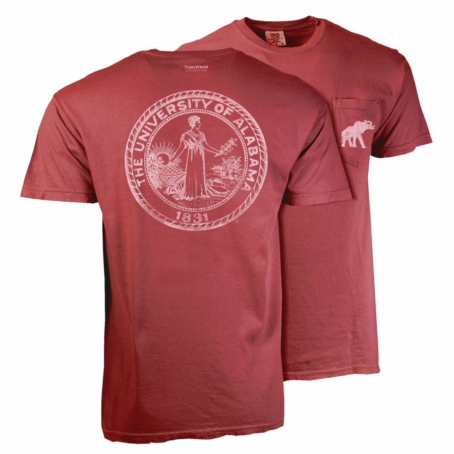 Single Color Distressed Crest Tee - Comfort Colors Short Sleeve