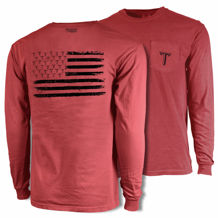 Troy Blackout Flag Tee - Comfort Colors Long Sleeve