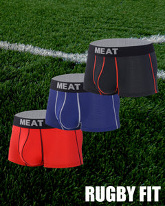 THREE (3) PACK RUGBY FOOTBALL TRUNKS - SIZZLING