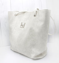 Load image into Gallery viewer, Tote Bag - white, off-white, cream, suede, vegan leather, handmade, handcrafted