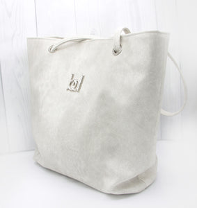 Tote Bag - white, off-white, cream, suede, vegan leather, handmade, handcrafted