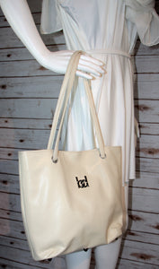 Tote Bag - bone, cream, off-white, vegan leather, handmade, handcrafted
