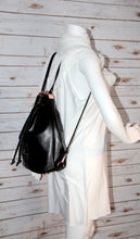 Load image into Gallery viewer, Bucket Bag - black, rose gold, backpack, vegan leather, handmade, handcrafted