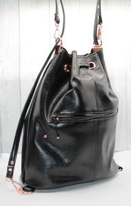 Bucket Bag - black, rose gold, backpack, vegan leather, handmade, handcrafted