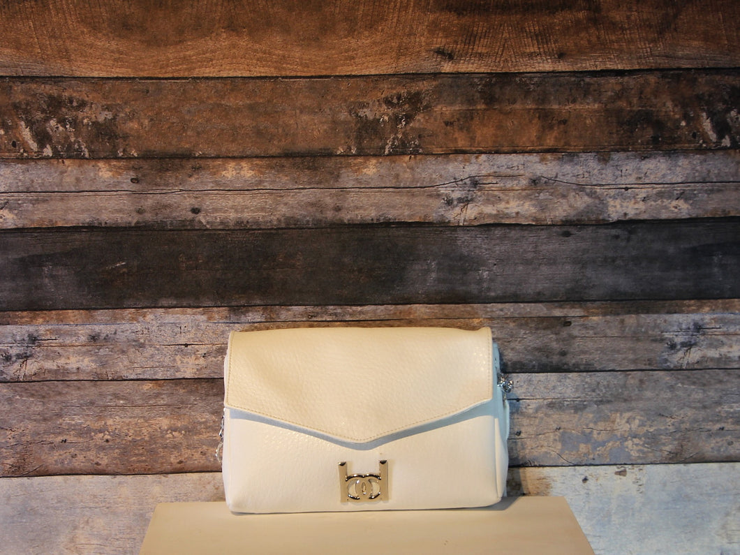 Maya Crossbody - white, vegan leather, handmade, handcrafted