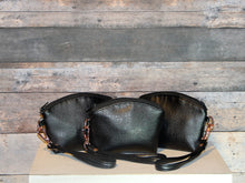 Load image into Gallery viewer, Coin Purse - black, rose gold, wristlet, vegan leather, handcrafted, handmade