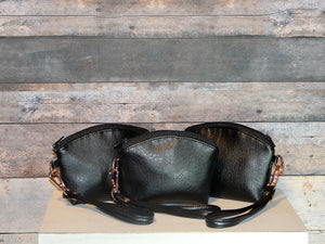 Coin Purse - black, rose gold, wristlet, vegan leather, handcrafted, handmade