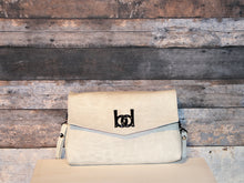 Load image into Gallery viewer, Maya Crossbody - white, vegan suede, handmade, handcrafted