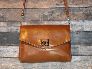 Maya Crossbody - large sized, caramel brown, vegan leather, handmade, handcrafted