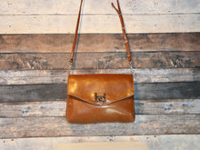 Load image into Gallery viewer, Maya Crossbody - large sized, caramel brown, vegan leather, handmade, handcrafted
