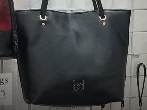 Tote - black, rose gold, vegan leather, handcrafted, handmade