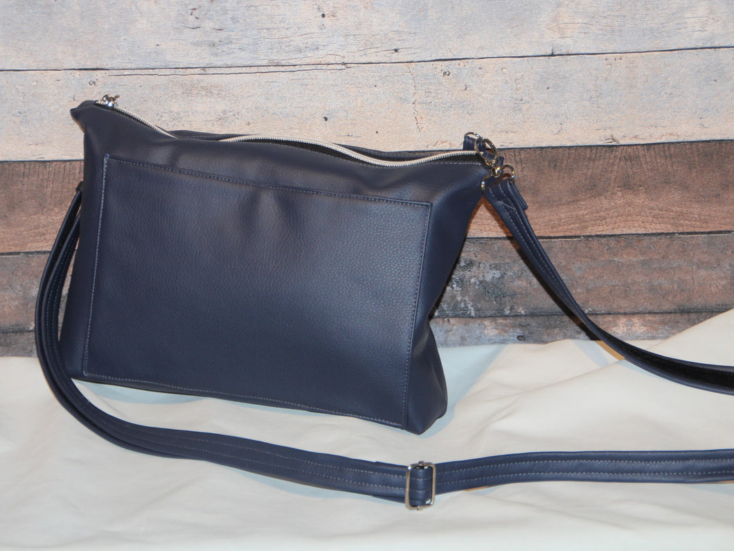 MIDI Day Bag - navy blue, front pocket, vegan leather, handcrafted, handmade