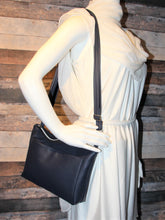 Load image into Gallery viewer, MIDI Day Bag - navy blue, front pocket, vegan leather, handcrafted, handmade