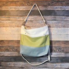 Load image into Gallery viewer, MEGA Day Bag - striped, white, green, avocado, blue, vegan leather, handcrafted, handmade