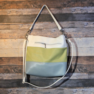 MEGA Day Bag - striped, white, green, avocado, blue, vegan leather, handcrafted, handmade