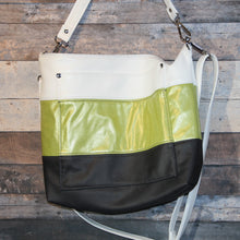 Load image into Gallery viewer, MEGA Day Bag - striped, white, green, charcoal, vegan leather, handcrafted, handmade