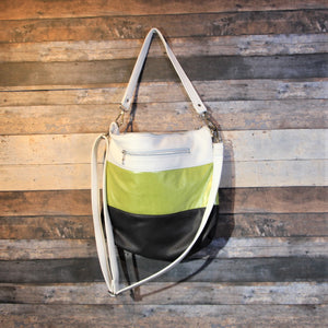 MEGA Day Bag - striped, white, green, charcoal, vegan leather, handcrafted, handmade