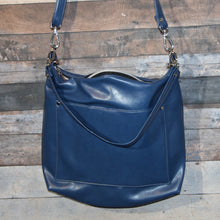 Load image into Gallery viewer, MEGA Day Bag - sapphire blue, vegan leather, handcrafted, handmade