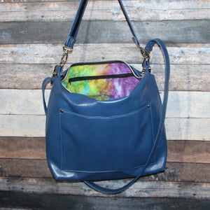 MEGA Day Bag - sapphire blue, vegan leather, handcrafted, handmade