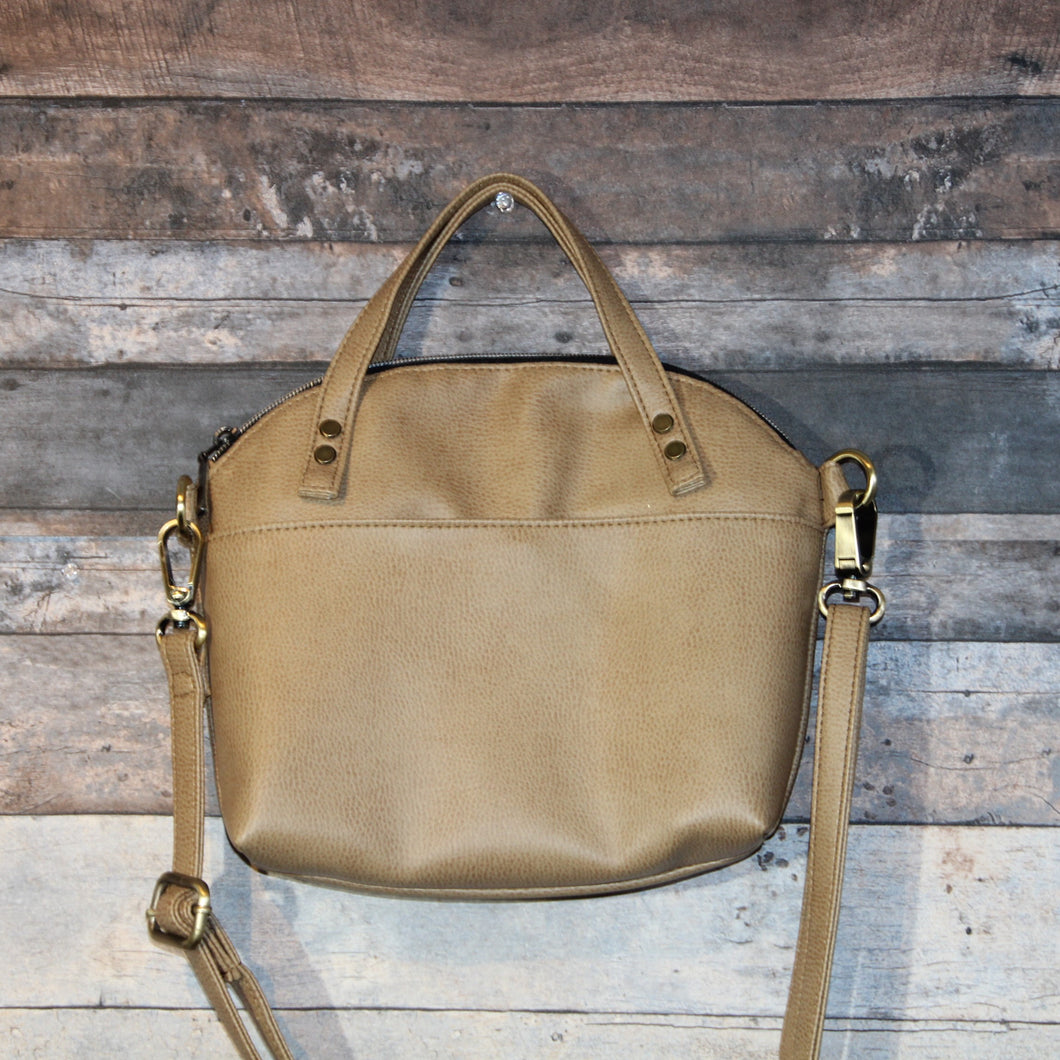 Lola Crossbody - beige, tan, tortilla brown, vegan leather, handmade, handcrafted