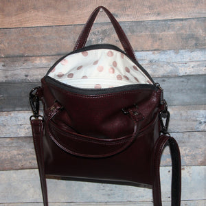 Lola Crossbody (L) - port, burgundy, vegan leather, handmade, handcrafted