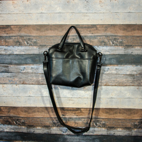 Lola Crossbody (L) - black, vegan leather, handmade, handcrafted