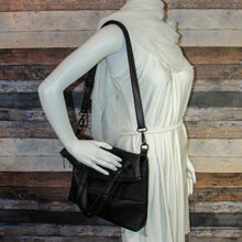 Load image into Gallery viewer, Flip Tote Bag - black, vegan leather, handmade, handcrafted