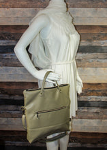 Load image into Gallery viewer, Flip Tote Bag - beige, vegan leather, handmade, handcrafted