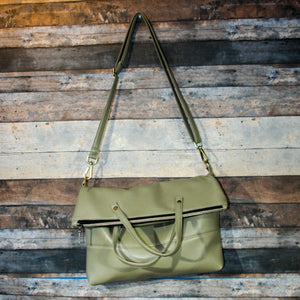 Flip Tote Bag - beige, vegan leather, handmade, handcrafted